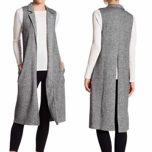 Socialite Notch Lapel Knit Vest Duster w/ Pockets